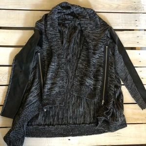 Sweater cardigan with pleather sleeves